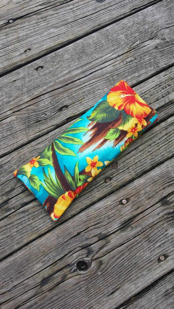 Yoga Eye Pillow / Relaxing Eye Pillow with Tropical Hibiscus cover /  yoga accessories / Meditation Eye Pillow/ Yoga Gift/ Savasana Pillow