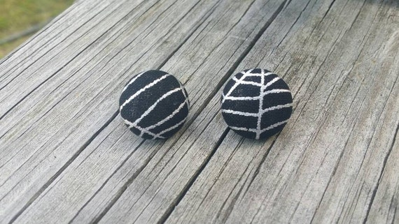Button Earrings, Spider web earrings, Costume Jewelry, Fabric Earrings, Round Earrings, Fall Earrings, Halloween Earrings, Nickel Free