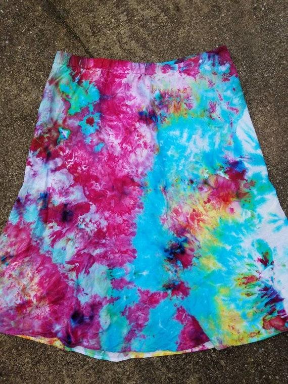 Tie Dye Skirt , Upcycled Tie Dye Skirt , Festival Skirt , Woodstock Skirt , One of a Kind Skirt , XL Skirt , Boho Skirt , Hippie Skirt