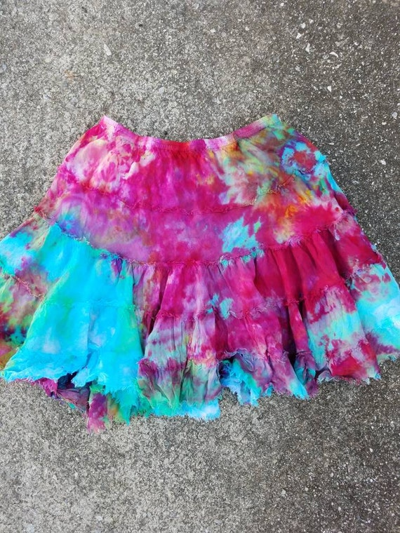 Tie Dye Skirt , Upcycled Tie Dye Skirt , Festival Skirt , Woodstock Skirt , One of a Kind Skirt , XS Skirt , Boho Skirt , Hippie Skirt