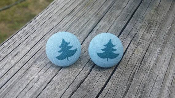 Button Earrings, Tree earrings, Costume Jewelry, Fabric Earrings, Round Earrings, Nickel Free Earrings, Nature Earrings, Blue earrings