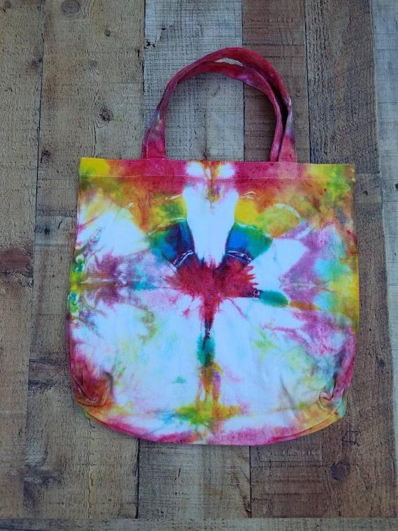 Hand Dyed Tote Bag, Tie Dye Tote, Tie Dye Market Bag, Tie Dye School Tote, Women's Handbags, Tie Dye Beach Bag, Gift Bag, Shopping Bag