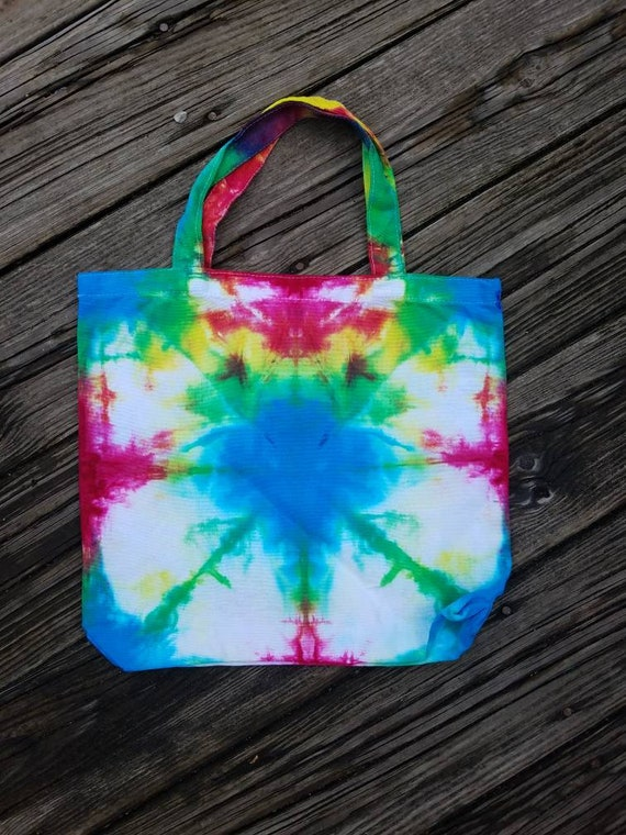 Hand Dyed Tote Bag, Tie Dye Tote, Tie Dye Market Bag, Tie Dye School Tote, Women's Handbags, Tie Dye Beach Bag, Gift Bag, Shopping Bag