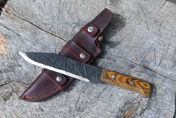Hand forged knife, Hunting knife, rustic knife, camp knife, hiking knife, outdoor gear, camp kitchen