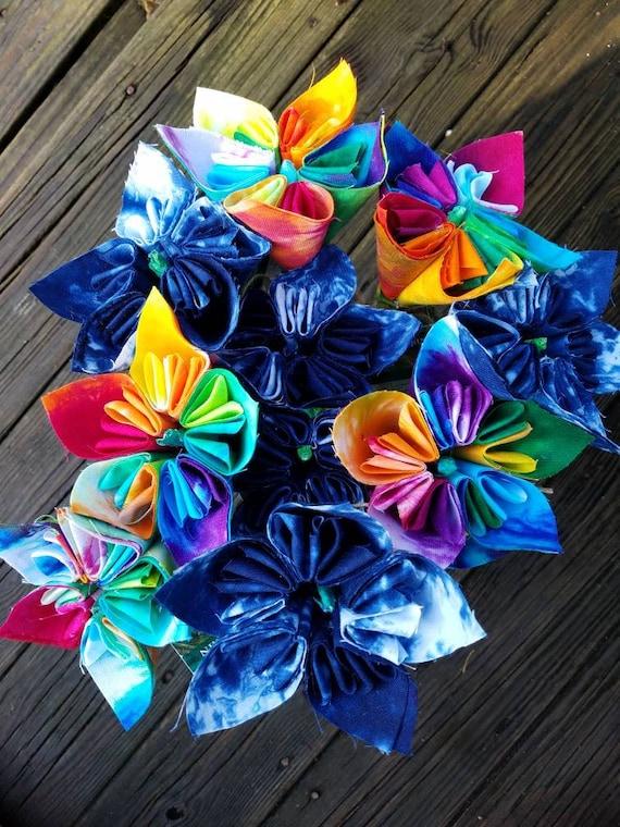 Tie Dye Flower Fabric Flower Origami Flower Shibori Flower Tie Dye Decor Shibori Decor Tie Dye Gift Indigo Flowers
