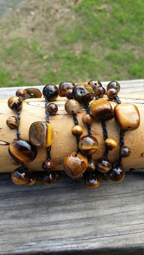 Crochet Beaded Wrap Bracelet /Bohemian Wrap bracelet/Yoga Bracelet/Beach Bracelet/Layering Bracelet/Tiger's Eye Bracelet/Crochet Necklace