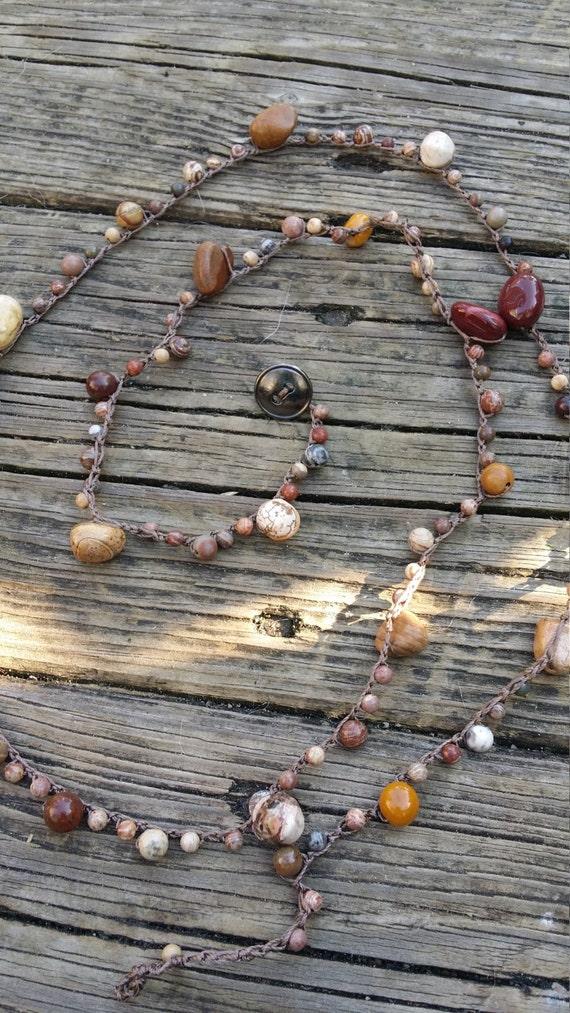 Crochet Beaded Wrap Bracelet /Bohemian Wrap bracelet/Yoga Bracelet/Beach Bracelet/Layering Bracelet/Mixed Jasper Bracelet/Crochet Necklace