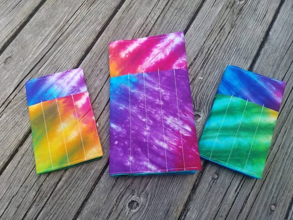 Tie Dye Fabric Travel Notebook Cover, Fabric Field Notes Cover, Fabric Planner Cover, Moleskine Cover, Small Notebook Cover