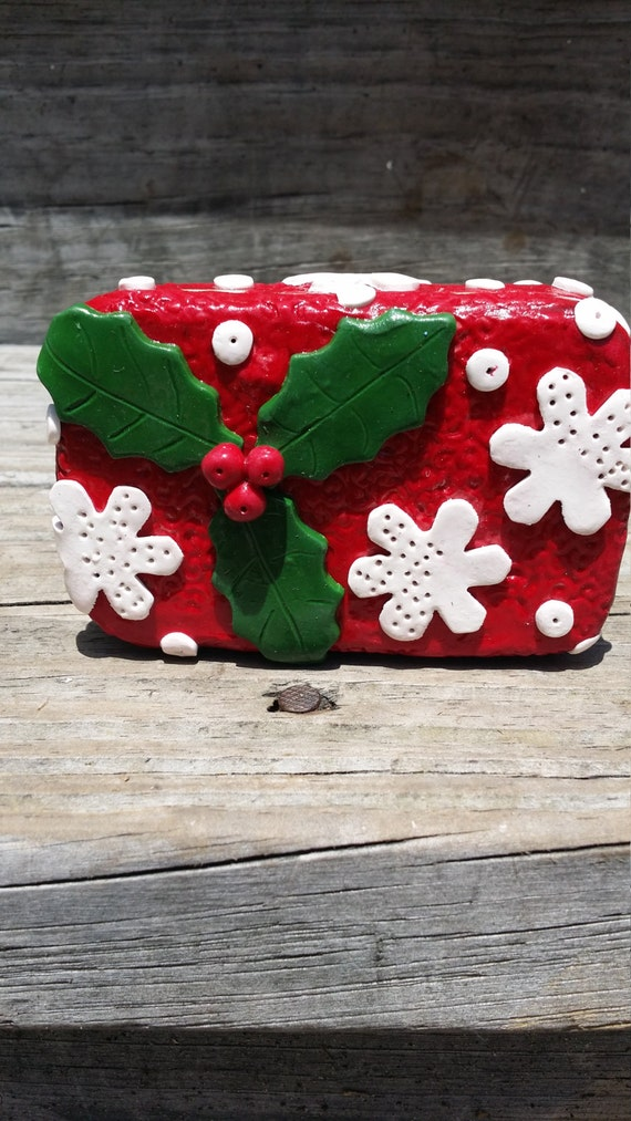 Polymer Clay Altered Christmas Tin / Christmas Gift card holder/ Upcycled Tin / Christmas Tin/ Winter Tin/ Holly Leaf Tin/ Christmas storage