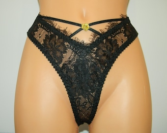black handmade,lace thong,lace lingerie,black lace,black thong,eyelashes lace,lace underwear,wedding,thong,bridal underwear,wedding,lingerie