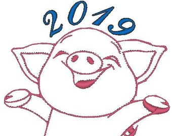 New year 2019, pig 2019,embroidery,Christmas bag,Santa pes brother,brother pes,surprise Santa,Christmas hat,Santa hat,bagging,sackcloth,gift
