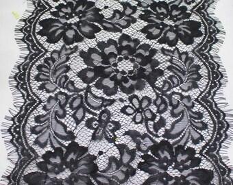 Eyelashes lace, black eyelashes lace, black lace, not elastic lace, lingerie lace, wide lace, unstretch Lace, handmade lingeries, lace belt