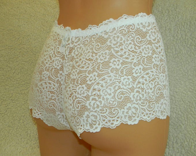 Handmade white,crotchless panties,lace thong,wedding,lace crotchless,shorts,lace panties,sexy lingerie woman,night thong,white flowers patte