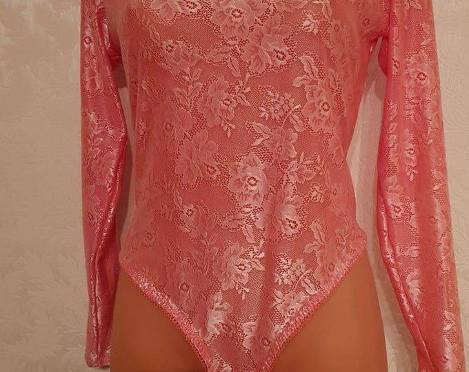 Pink bodysuit,laced bodysuit,plus size corset,vintage lingerie,Body shaper,Plus size lingerie,honeymoon lingerie,handmade lingerie