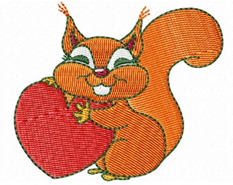 Embroidery design,personalized design,squirrel,embroidered squirrel,janome,janome jef+,love surprise,bagging,sackcloth,gift,embroidery gift