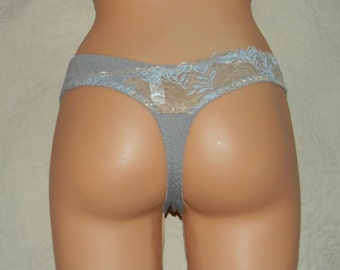 Handmade Thongs in grey color with lace, Lace has gold flowers, lingerie, sexy thongs, thongs, panties, garters, laces, gstring, g strings