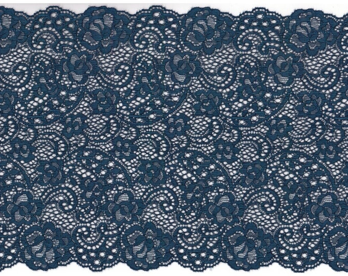 Elastic lace in dark blue colour, elastic lingerie lace, wide lace, stretch Lace