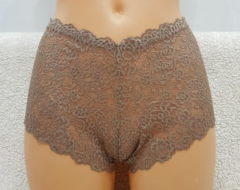 Coffee with milk color,crotchless panties,lace,high waist,wedding,crotchless,shorts,lace panties,sexy lingerie woman,night thong,underwear