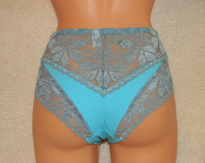 Handmade,light blue,crotchless panties,lace,high waist,wedding,crotchless,shorts,lace panties,sexy lingerie woman,night thong,underwear