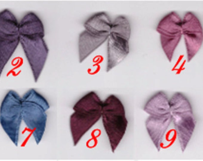 Pre-Tied Satin Bows in black color Embellishments, Satin Bows, Craft Supplies, 50 psc Craft Bows