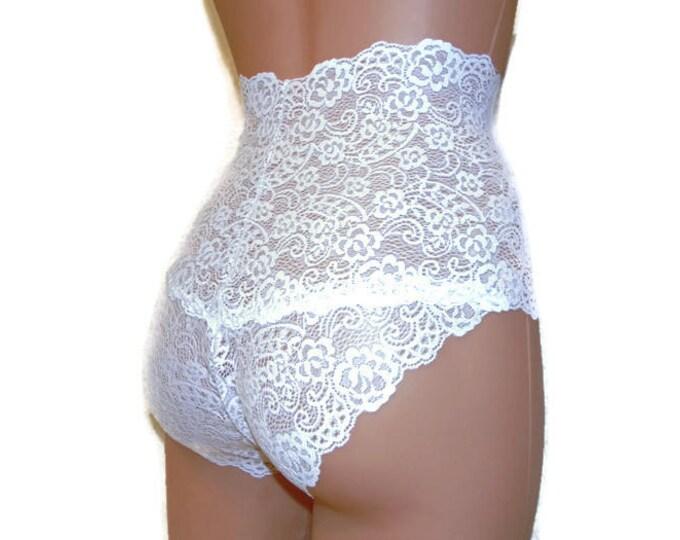 Lace,high waist lingerie,plus size panties,handmade panties,lingerie cross dressing,bbw woman,white lace lingerie,lace underwear,clear,lace