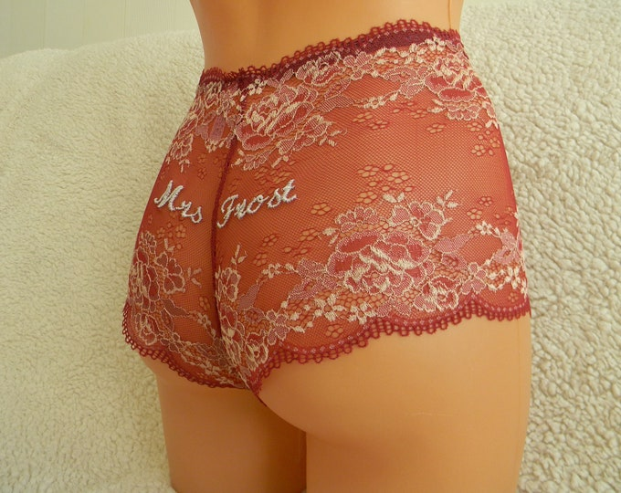 Mr embroidery,white shorts,panties,handmade,bridal lingerie,lace lingerie,custom made,vintage,plus size,underwear,personalized embroidery