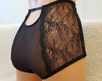 Handmade black,mesh panties,lace,high waist,wedding,with crotch,shorts,lace panties,sexy lingerie woman,black mesh,underwear,lingerie,briefs