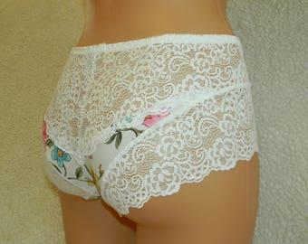 white,crotchless panties,lace thong,wedding,lace crotchless,shorts,lace panties,sexy lingerie woman,night thong,white flowers pattern,shorts