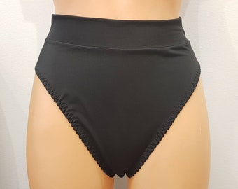 Handmade black,crotchless panties,lace,high waist,wedding,crotchless,shorts,lace panties,sexy lingerie woman,night thong,underwear,lingerie