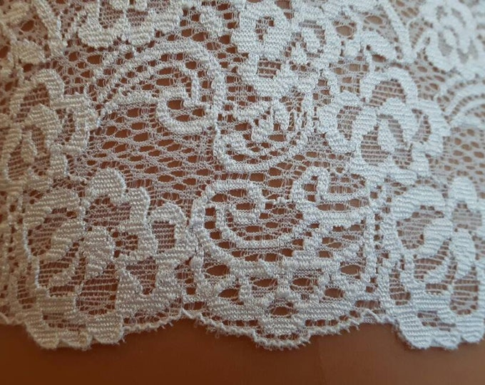 Elastic lace in white colour, elastic lingerie lace, wide lace, stretch Lace