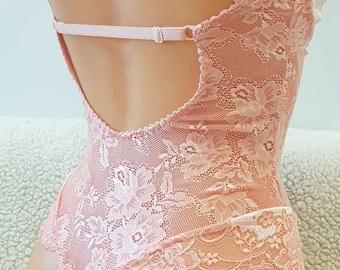 Pink bodysuit,Bodysuit,laced bodysuit,plus size corset,vintage lingerie,Body shaper,Plus size lingerie,honeymoon lingerie,handmade lingerie