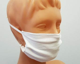 Handmade white face mask, cotton, one size, different colors, custom request
