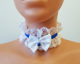 Handmade choker white lace necklace collar blue stripe with white bow and blue bell