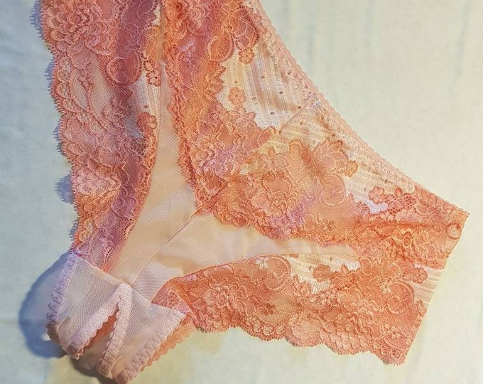 Handmade pink,panties,lace,high waist,wedding,shorts,lace panties,sexy lingerie woman,night thong,underwear,high waist crotchless,lingerie