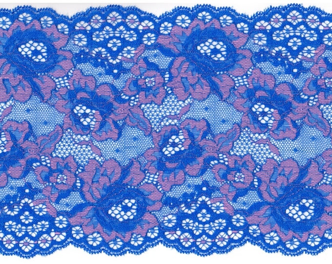 Elastic lace in blue&pink colour, elastic lingerie lace, wide lace, stretch Lace