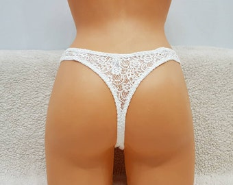 Strip,Pocket thong,Plus size,lace lingerie,white ladies,wedding thong,Handmade underwear,white knickers,panties,thongs,white thong,bbw,sexy
