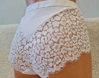 Brasil style, eyelashes lace, white sexy shorts, crotchless style with rhinestones panties