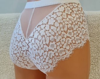 Brasil style, white sexy shorts, crotchless style with rhinestones panties