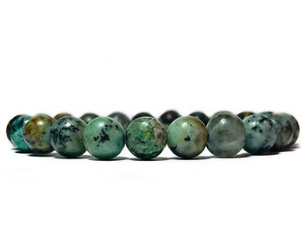 African Turquoise Bracelet Bead Bracelet Beaded Bracelet Gemstone Bracelet Healing Stone Bracelet Men Mala Bracelet Mens Yoga Bracelet Men