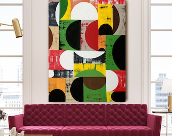 Original Oil Abstract Pop Art Green Red Geometric Painting 36x24
