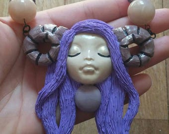 Ram Goddess Cabachon Polymer Clay Pendant Necklace
