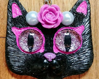 Black and Pink Kitty Cat Polymer Clay Pendant Necklace