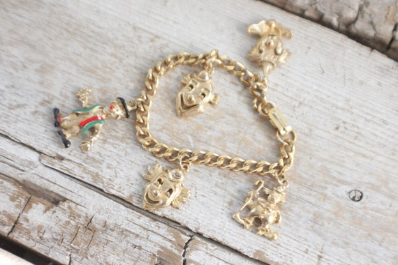vintage clown charm bracelet , vintage clown brace