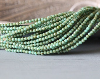 Czech Glass Beads Round 50 pieces Turquoise Picasso 2mm Faceted Stone Creek
