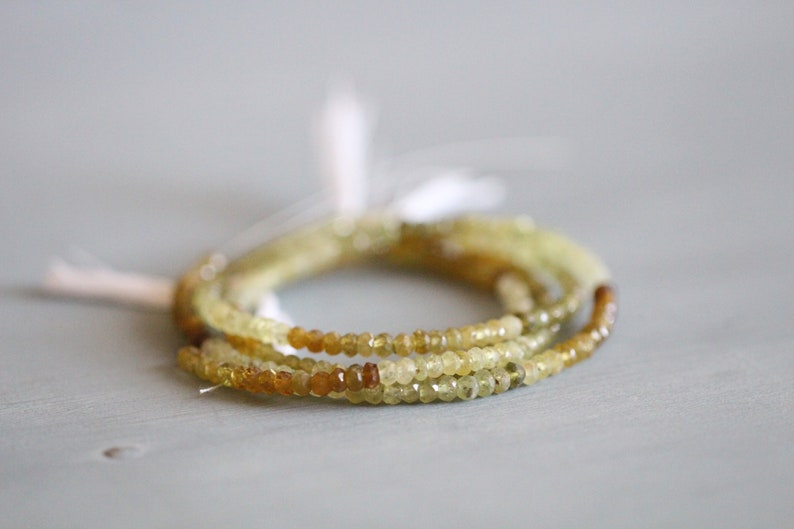 Gemstone Gold Faceted Beads 4mm Gemstones Full Strand Rondelle 13.5 inch Strand Grossular Garnet Green