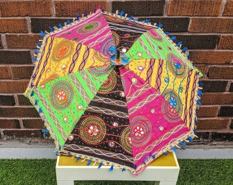 FREE SHIPPING - Vintage 1990's Colourful, Groovy and Psychedelic Sun Umbrella