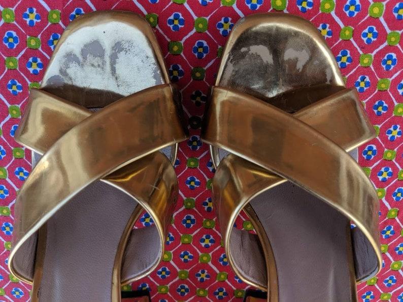 Disco Gold Platform Sandals Zara Strappy Sandals Not Vintage Size EU 38