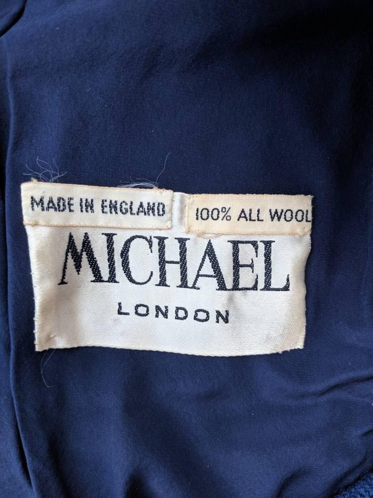 Elegant FREE SHIPPING Mod Mid Season Jacket Made in England Size S Michael London Vintage 1960/'s Blue Royal Blazer for Women