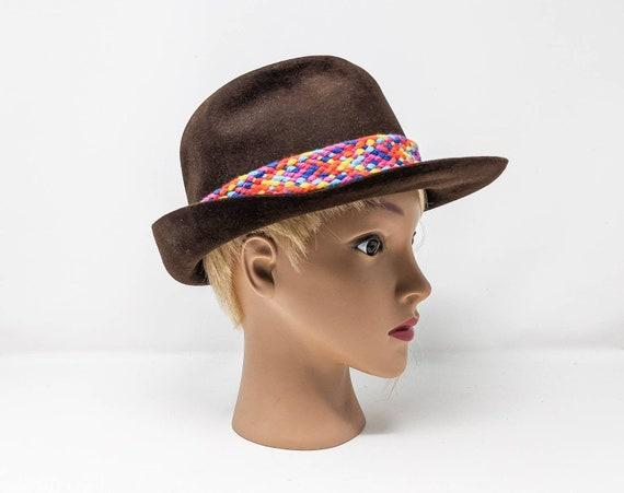 FREE SHIPPING - Vintage 1970's Brown Fedora Hat, … - image 1