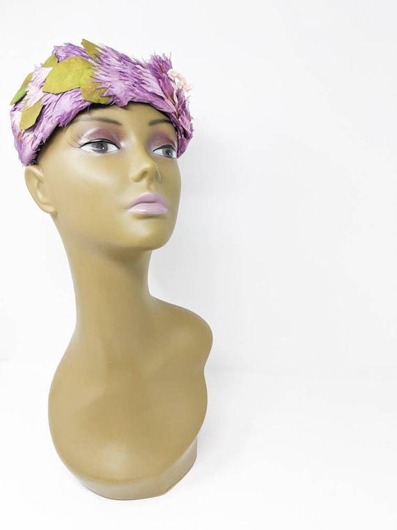 Vintage 1940's Purple and White Floral Headband, … - image 6